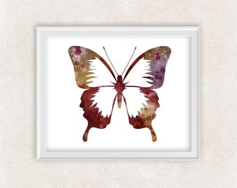 Colorful Butterfly Art - Watercolor Print - Childrens Room Decor - Home Decor 8x10 PRINT - Item #735B