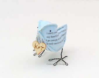 2yr Wedding Anniversary Cotton Gift Love Bird Poem Bird and Heart with your initials I carry your heart with me