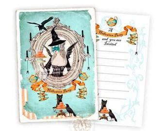 Halloween Invitation cards, Halloween witch, Halloween party invitations, Marie Antoinette, macaron, black cat, Halloween holiday invitation