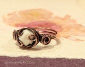 Gothic Milk Glass Wire Wrapped Antiqued Copper Ring Sizes 5 through 11 Handcrafted Copper Jewelry