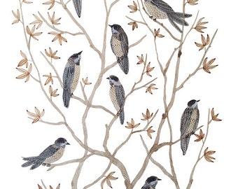 Songbirds Gathering, flock of birds original watercolor painting, bird art, large painting