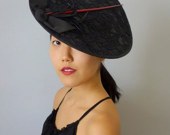 On SALE Satellite Tilt Fascinator Cocktail Hat in Black Guipure Lace on Sinamay Straw