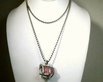 SALE, Earthy Caged Pink Bead Pendant on a Ball Chain Necklace..1980s  OOAK