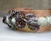 Flower Hammered Copper Cuff Bracelet Rustic Metal Wire Wrapped Earthy Jewelry