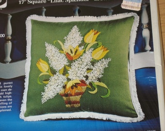 KIT Avocado Green Pillow cover floral crewel embroidery pattern vintage new craft supply