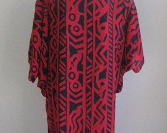 70s 80s tribal graphic dress