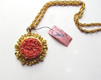 Vintage Collected Bermuda Coral Pendant Necklace c.1960s