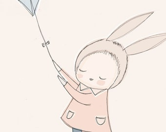 Large Format Art Print - Bunny Girl Flying a Kite in the Sky - Peach nursery art - A3 or 11x14""
