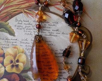 Czechoslovakia Amber Crystal Necklace w/ Large Center Drop Stone