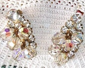Vintage CRYSTAL & RHINESTONE Earrings, Exquisite Large Swarovski AB Rounds, Gold Tone Clip Ons, Glass Rhinestones, Exquisite!