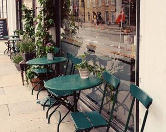 Copenhagen Denmark Photography - European Cafe Print - Travel Photography - City Wall Art - Green Print - Kitchen Wall Art Restaurant Decor