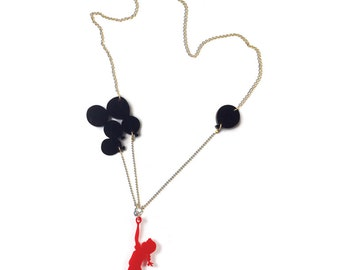 Red & black plexiglass (perspex) necklace, Girl with balloons, laser cut jewelry, statement necklace, Banksy girl, gift for young women