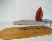 Vintage Little Lady Red Enamel Metal Working Iron - Retro Petite Functioning Child's Size Clothes Iron - Laundry Room Display - Travel Iron