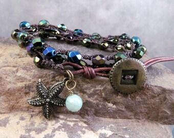 Crochet  Wrap Bracelet or Necklace Rustic Peacock Blue Green Bohemian Crocheted Jewelry