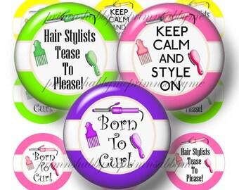 HAIRDRESSER, Bottle Cap Images, Digital Collage Sheet, I Inch Circles, Instant Download, Printable, Hairdresser Sayings, Bottle Caps, Crafts
