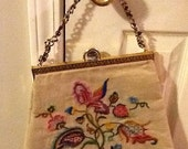 Vintage & Retro Handbags, Purses, Wallets, Bags Vintage Crewel Embroidered Handbag Purse Tapestry Carpetbag Large $27.00 AT vintagedancer.com