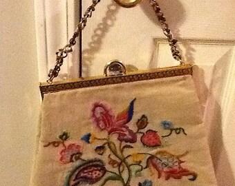 Vintage Crewel Embroidered Handbag Purse Tapestry Carpetbag Large