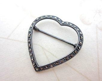 CLEARANCE SALE Sterling silver marcasite heart brooch pin - 925 silver sweetheart pin - love heart