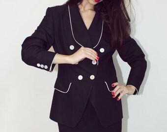 LAUREL ESCADA Blazer, Black Blazer, Haute Couture, Vintage 80s Fashion, Vintage 90s Fashion, Black And White Blazer,Tuxedo, Escada Blazer