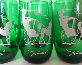 Vintage Set of 6 Anchor HockingThe Hansom Forest Green Holiday Drinking Glasses