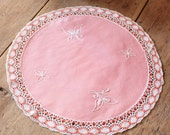 French Vintage Peach Embroidered Table Mat