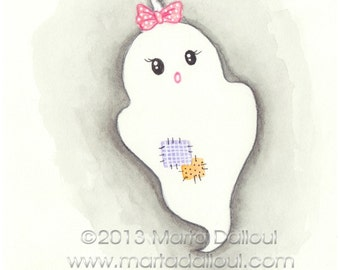 Halloween Ghost with bow watercolor art print. Cute girl ghost illustration. Whimsical halloween painting. Halloween cute wall art for girls