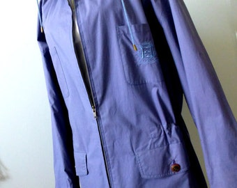 Hipster Blue Spring Jacket - Size M -  Blue Cotton Windbreaker - Casual Vintage Short Trench Coat