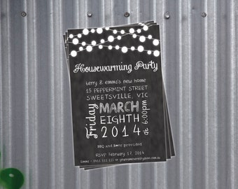 Custom Printable Housewarming Party Invitation - Blackboard / Chalkboard