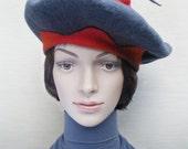 Béret original en laine feutrée avec élément mobile, chapeau de femme en laine mérinos, chapeau gris et rouge, automne, hiver, printemps