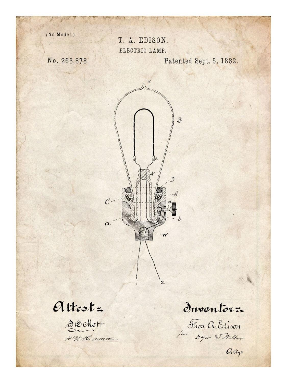 Edison Light Bulb Invention Poster 18x24 Handmade Gicl E
