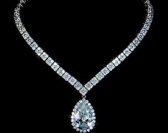 Cubic Zirconia Wedding Necklace - Wedding Crystal Necklace - Bridal Necklace - Drop Necklace - Statement Necklace - CZ Necklace - AN0032