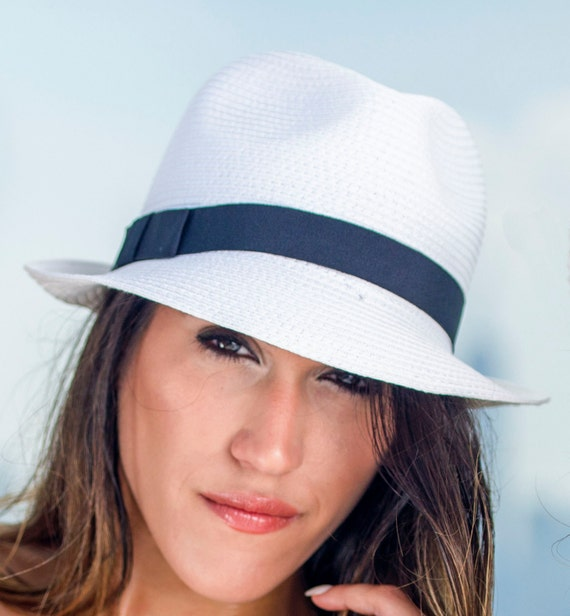 Womens White Fedora with Black Ribbon- Classic White ...