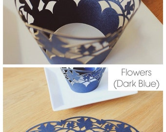 Cupcake Wrappers (CW-05 Flowers - Dark Blue)