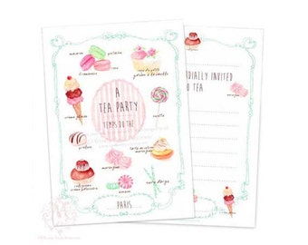 Tea party invitations, French pastry, macarons and cake watercolor illustrations