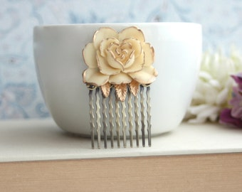 Ivory Antiqued Gold, Shabby Chic, Small Vintage Style Ivory Rose Flower Hair Comb. Ivory Gold Rose Hair Comb. Wedding Comb. Bridesmaids Gif