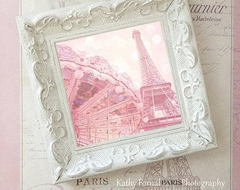 Paris Photography, Pink Eiffel Tower Carousel, Paris Decor, Shabby Chic Decor, Pink Eiffel Tower Prints, Paris Prints, Paris Framed Wall Art