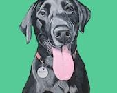 Custom Dog Portrait - Pet Portrait- Hand painted - 11x14 inches - Labrador Retriever Painting - Dog Portrait - Custom Dog Art