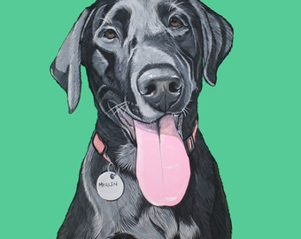 Custom Pet Portrait - Portrait - Hand Painted Pet Portrait 11x14 inches - Gift for Dog Lover - Labrador Retriever Painting - Dog Art