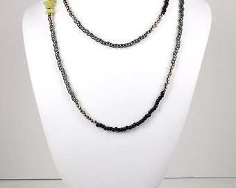 Long Beaded Necklace Black and Charcoal Gray With Chartreuse Stones