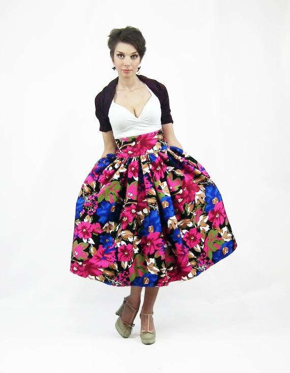 Midi Skirt Tea Length Skirt High Waist Full Skirt