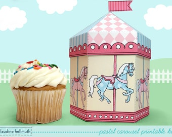 pastel carousel -  cupcake box also holds cookies and party favors, table centerpiece printable PDF kit - INSTANT download