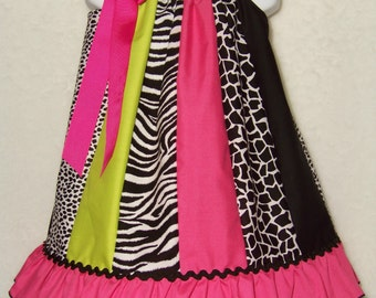 Pink Pillowcase Ruffle Dress / Pink / Zebra / Leopard / Cheetah / Giraffe / Animal/Girl / Infant / Baby / Toddler / Custom Boutique Clothing