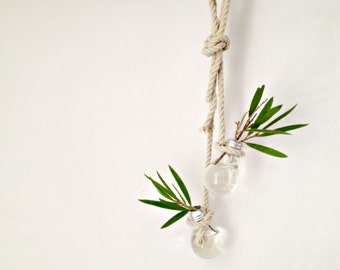 Set of two light bulb bud vase hanging from hemp rope/ wall decor- air plant- herb garden/unique christmas gift