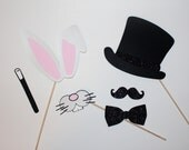 Magic Photo Booth Props - Bunny Ears, Mouth, Top Hat & Wand
