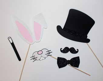 Magician Photo Booth Props - Bunny Ears, Mouth, Top Hat & Wand