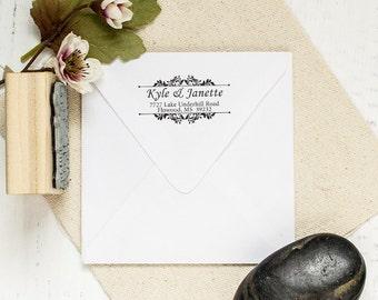 Floral Address Stamp, Custom Rubber Stamp, Wedding Gift, Housewarming Gift, Wedding Stamp. Return Address Stamp 2x1 - A51