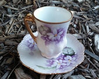 Hand painted Vintage Tea Cup, Saucer & small platter set - Lavender roses on white porcelain
