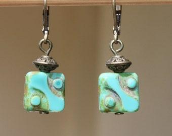 Turquoise Earrings Jewelry Dangle Earrings Drop Earrings Blue Green Czech Glass Earrings Small Earrings Birthday Gift for her Gift for women