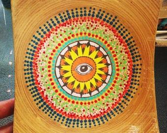 Mandala,Painted Bamboo Plate,Colorful, Dot Painting,Decorative Dish,Home