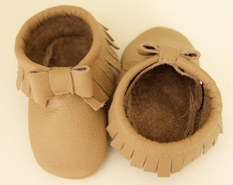 Authentic Leather Baby Bow Moccasins